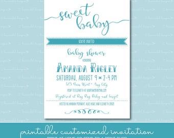 Sweet Baby Shower Invitation • Chalkboard Inspired