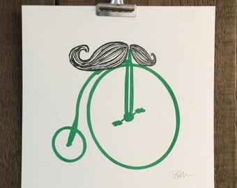 Handlebar Mustache Bicycle 10x10 Art Print