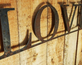Love, Metal Word Art for Indoors or Outoors