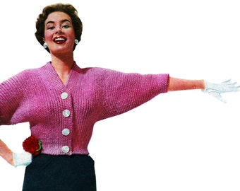 Crochet Sweater Pattern with dolman sleeves Vintage 1950s PDF Easy Retro design