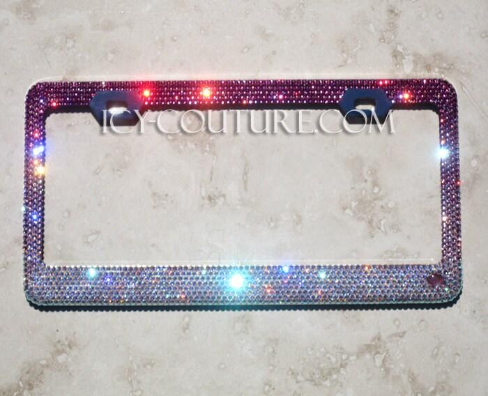 PINK FADE Swarovski Crystal Bling License Plate Frames