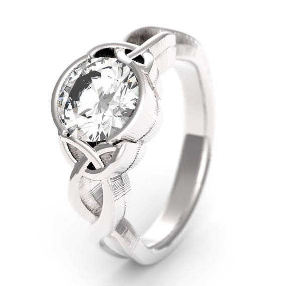 Celtic Moissanite Engagement Ring With 1.5ct Moissanite Trinity Knot Design in Sterling Silver, Made in Your Size CR-405b