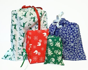 READY TO SHIP Set of 4 Reusable Holiday Gift Bags, Sustainable