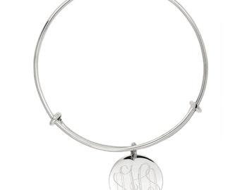 Sterling Silver Monogrammable Engravable Expandable Wire Bangle Bracelet