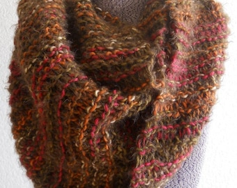 Chunky Tube Cowl, XL Knitted Autumn Colors, Brown Sugar