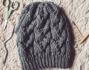 Lace Cable Beanie Pattern Only, Slouchy Beanie, fall beanie, winter beanie