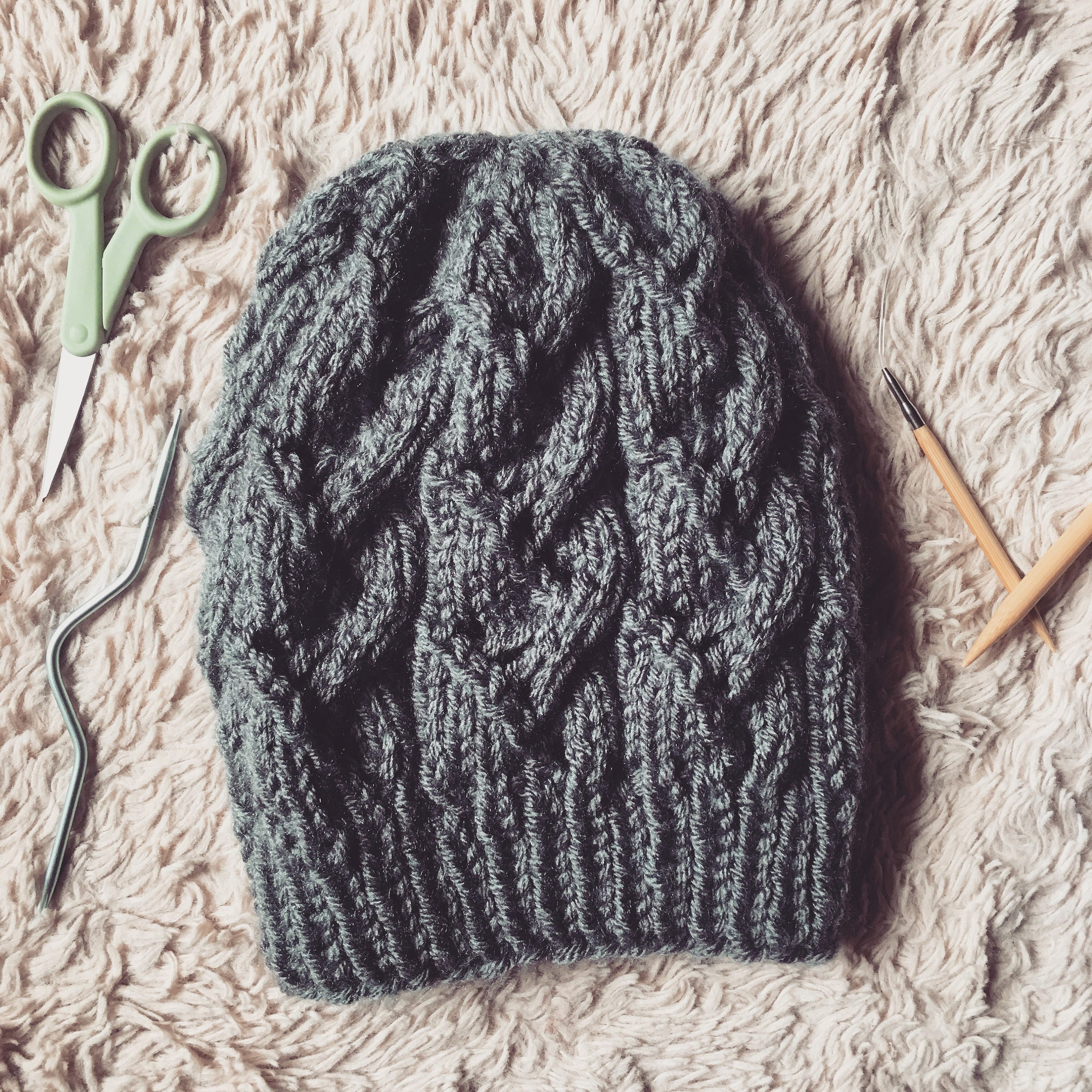 Lace Cable Beanie Pattern Only Slouchy Beanie fall beanie