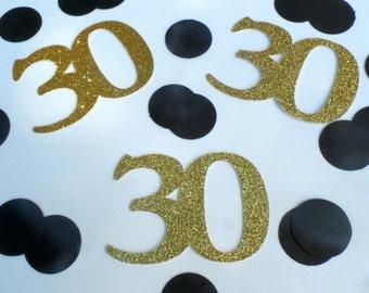 Custom age number confetti - 30 Birthday Confetti, Thirty Birthday, 30 Confetti, 16th birthday, Sweet 16, Gold and Black Party 21