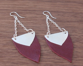 Leather Shield Earrings
