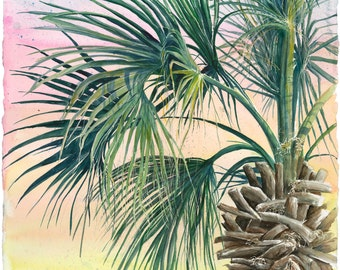 Rustling Palm Tree limited edition signed and numbered watercolor print