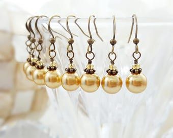 Gold Pearl Earrings - Pearl Drop Earrings - Crystal Dangle Earrings - Bridesmaid Earrings - Vintage Style - Bronze Bridal Jewelry Gift E4508