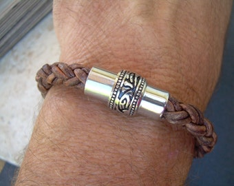 Mens Bracelets Leather, Leather Bracelets for Men, Men's Leather Bracelets, Braided Leather Bracelet, Stainless Steel, Magnetic Clasp,