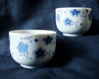 Set of 2 Japanese teacups; blue and white sakura cherry blossom pattern crockery pair