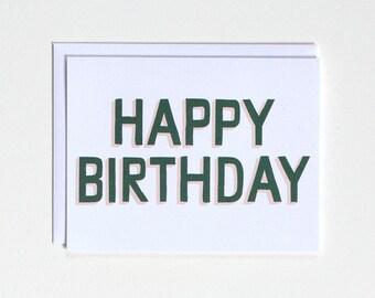Happy Birthday - Pink and Green Birthday card