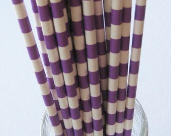 25 Paper Purple & White Ringed Straws - Free Printable Straw Flags