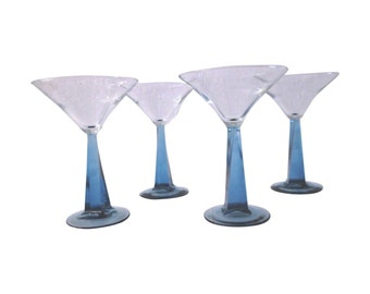 Sapphire Blue Martini Glasses, S/4