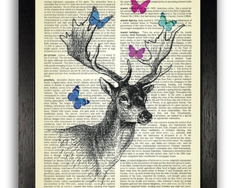 Deer with Butterflies Decorative Artwork Dictionary Page Print, Deer Art Wall Decor Gift for Wife, Anniversary Present, Nursery Animals Art