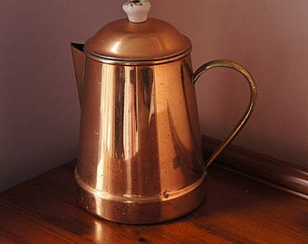 Copper tea / coffee pot with lid