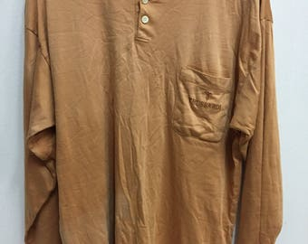 Vintage 90s Trussardi Small Logo Embroidery Pocket Long Sleeves T-Shirt Streetwear