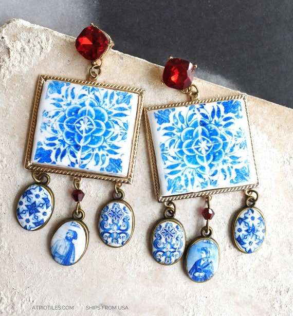 Earrings Majolica Portugal Tile Azulejo Baroque   - Tomar Convent of Christ - Red Cubic Zirconia Posts Studs