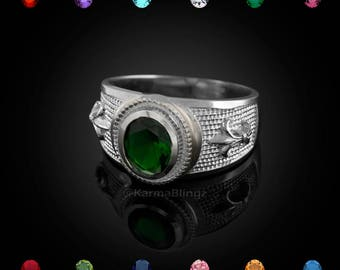 Sterling Silver Fleur de Lis Ring-Color Birthstone CZ Ring -Customizable Stone