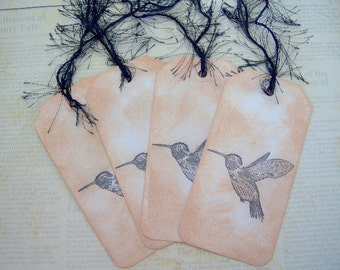 Hummingbird Vintage Themed Gift Tags - 4 Large Gift Tags - Vintage Style Gift Tags - Hand Stamped and Inked Distressed