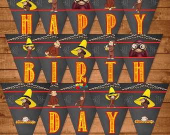 Curious George Birthday Banner Chalkboard Theme - Curious George Happy Birthday Banner - Curious George Birthday - Curious George Printables