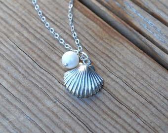 Sterling silver shell necklace, silver shell and pearl necklace, beach inspired jewelry, bridesmaids gift, shell necklace