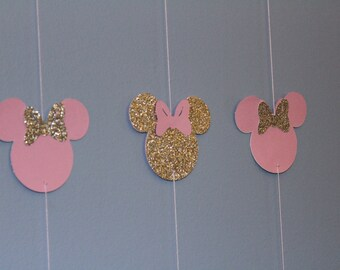 pink and gold Minnie banner (10 strands)