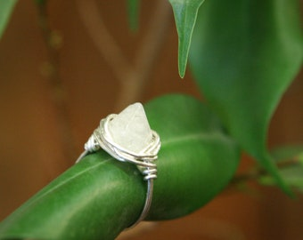 Crystal Quartz Point Gemstone Ring - Sterling Silver or Gold Fill Wire Wrap - Meditation, Intuition, Healing, February Birthstone