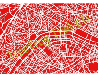 Paris Papercut Art Map - Template for Commercial Use