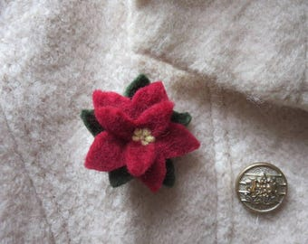 Festive Christmas Red Poinsettia Holiday Pin