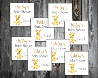 25 GIRAFFE Baby Shower Favor Stickers. 2 inches by 2 inches.  Price includes personalization and printing.