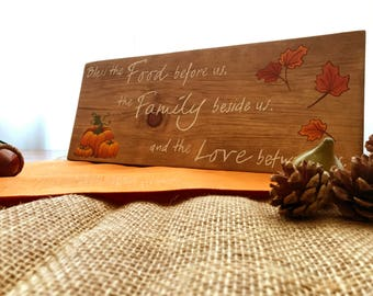Hand Painted Fall Blessing Wood Sign