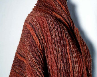 Vintage Orange Rust Brown Wool Shawl Fabric, Designer Wool Crinkly Textured Novelty Fabric Throw