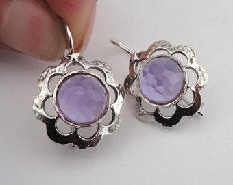 Simple Charming 925 Sterling Silver Amethyst Earrings, Purple Stone Earrings, Romantic gift, Flower Earrings, Round Earrings, Free Shipping