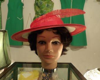 Gwen Pennington Ladies Red & White Straw Hat
