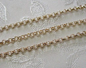 Light Gold Plated Round Rolo Chain 2mm 371-G