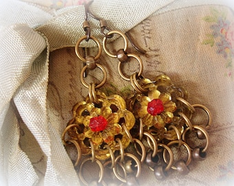 sUnshine vintage assemblage earrings antique glass buttons and beads sunny topaz + red and brass