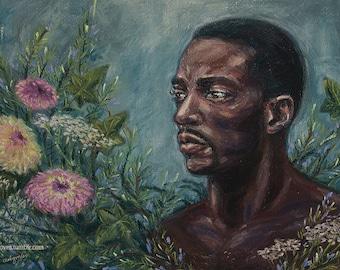 Sam Wilson & Zinnias, Original soft pastel painting