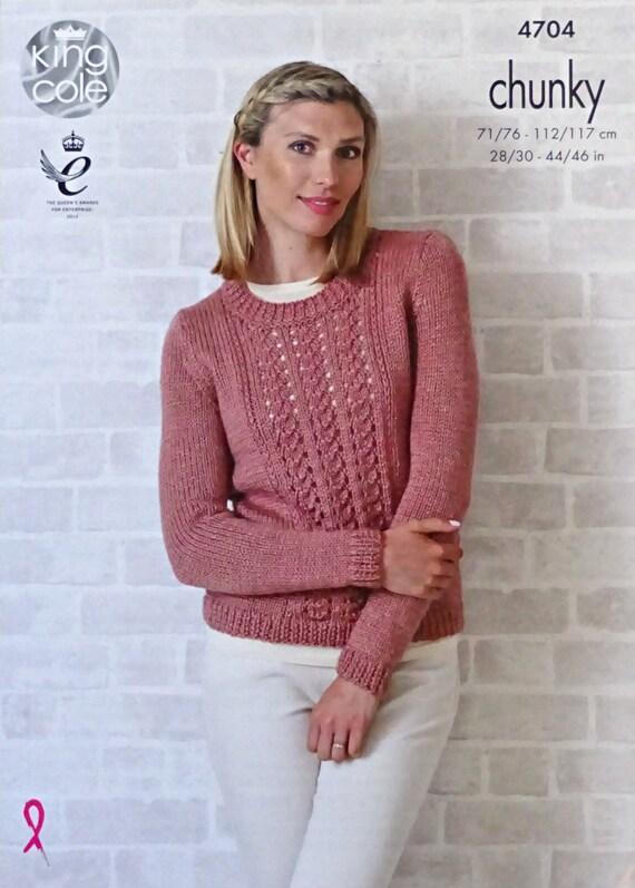 Womens Knitting Pattern K4704 Ladies Long Sleeve Round Neck Lace