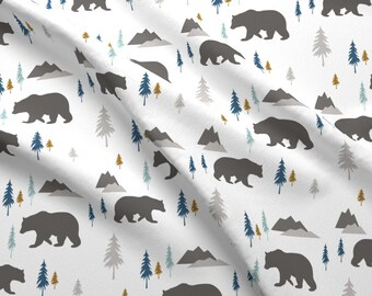 Forest Fabric - Bears In The Woods Charcoal Rust By Sproutz - Forest Bears Trees Woodland Gray Cotton Fabric By The Yard With Spoonflower