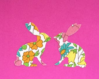 """EASTER Liberty fabric bunny and chick greeting card - square 4"""""""