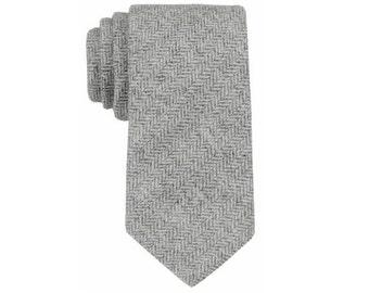 Grey Herringbone Wool Tie.Grey Wool Tie.Mens Wool Tie.Rustic Wedding.