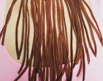 Suede Fringe Necklace in Medium Brown
