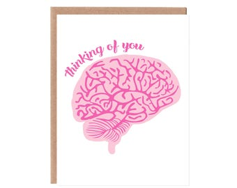 Thinking of You Brain Card -- Neon Pink and Magenta Ink