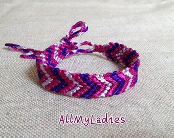 Gray purple pink Friendship Bracelet (No E3)
