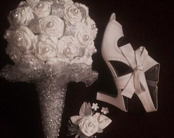 White Paper Flower Bride Bouquet & Matching Boutonnière