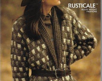 Knitting Pattern Booklet - BERNAT RUSTICAL - Sweaters - 4 Patterns -  Bulky Weight Designs, Jacket, Pullover - Men, Ladies - Very Cute!