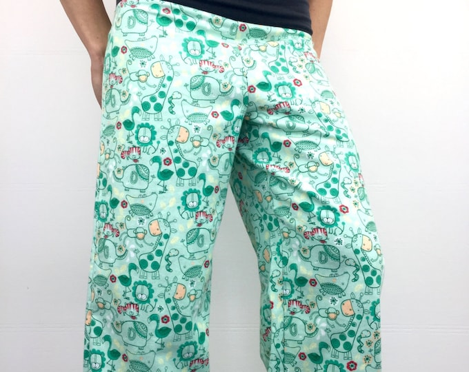 Jungle Party - 100% Cotton Flannel - High Waistband in Bamboo- Party Pajamas by So-Fine